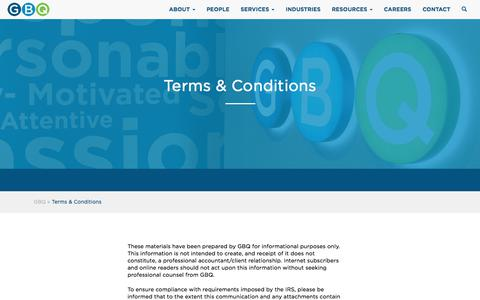 Screenshot of Terms Page gbq.com - Terms & Conditions | Columbus CPA | Cincinnati Accounting Firm - captured Sept. 25, 2018