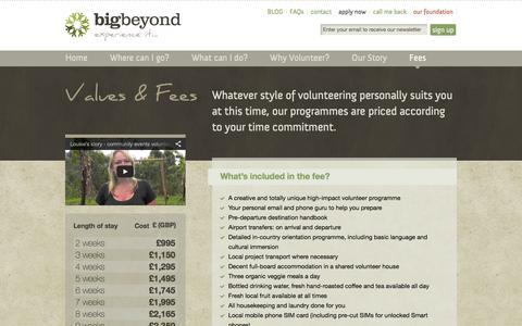 Screenshot of Pricing Page bigbeyond.org - Pricing   Big Beyond - unique & meaningful volunteer travel experiences in rural Africa - captured Jan. 3, 2016
