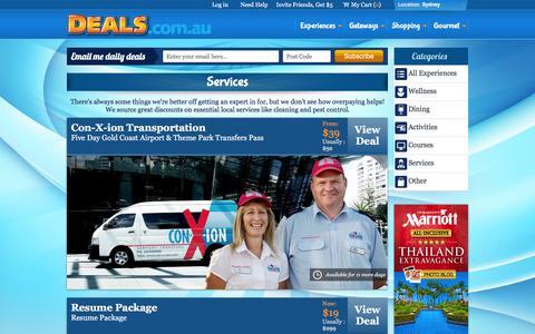 Screenshot of Services Page deals.com.au - Sydney Services Deals & Discounts - Deals.com.au - captured Jan. 15, 2016