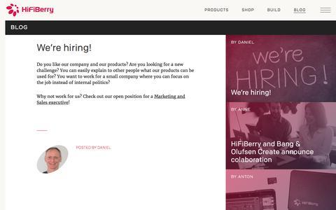 Screenshot of Blog hifiberry.com - We're hiring! | HiFiBerry - captured June 22, 2017