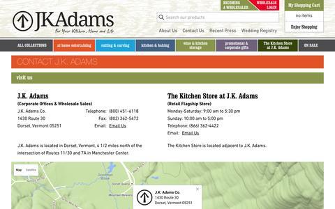 Screenshot of Contact Page jkadams.com - Contact Us - J.K. Adams - captured March 8, 2016