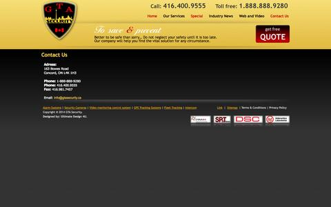 Screenshot of Contact Page gtasecurity.ca - Contact Us - GTA Security Inc. - captured Sept. 27, 2014