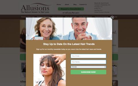 Screenshot of Home Page allusionshair.com - Cincinnati Hair Loss | Men & Women Hair Loss Solutions | Allusions - captured Feb. 5, 2016