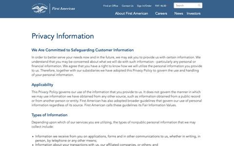 Screenshot of Privacy Page firstam.com - Privacy Information | First American - captured Oct. 21, 2018
