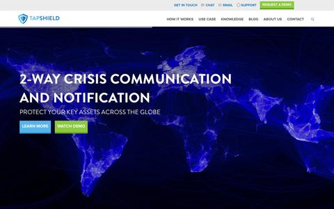 Screenshot of Home Page tapshield.com - Safety App - TapShield - captured Feb. 21, 2016
