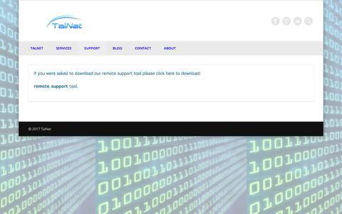 Screenshot of Support Page talnet.com.au - Support  | TalNet - captured June 16, 2017