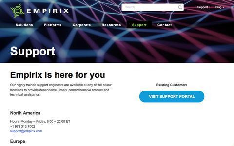 Screenshot of Support Page empirix.com - Support – Empirix - captured Aug. 6, 2019
