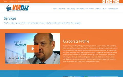 Screenshot of Testimonials Page vmbiz.com.au - VMBIZ Video Productions (VMBIZ Pty Ltd)Services - VMBIZ Video Productions (VMBIZ Pty Ltd) - captured Nov. 4, 2014