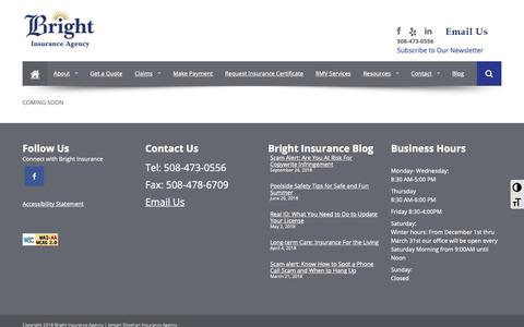 Screenshot of FAQ Page brightinsurance.com - FAQs | Find Homeowners, Business, Motor Vehicle Insurance Central MA - Bright Insurance Agency - captured Oct. 6, 2018