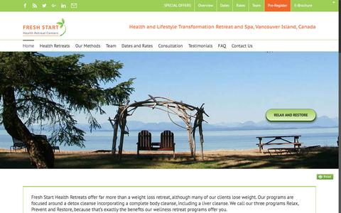 Screenshot of Home Page healthretreat.ca - Fresh Start Health Retreat Centers on Vancouver Island, BC - captured May 16, 2017