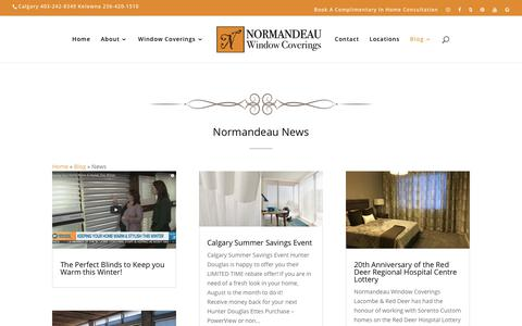 Screenshot of Press Page normandeauwc.com - News | Normandeau Window Coverings - captured Oct. 18, 2018