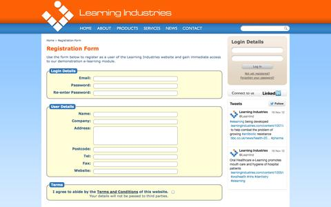 Screenshot of Signup Page learningindustries.com - Welcome to Learning Industries | Learning Industries - captured Oct. 2, 2014