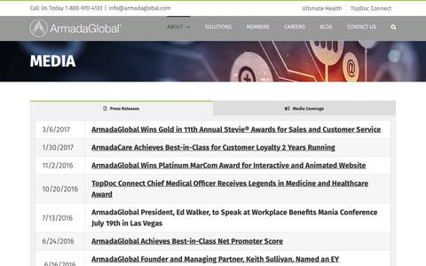 Screenshot of Press Page armadaglobal.com - Recent Media Coverage • ArmadaGlobal - captured Oct. 21, 2018