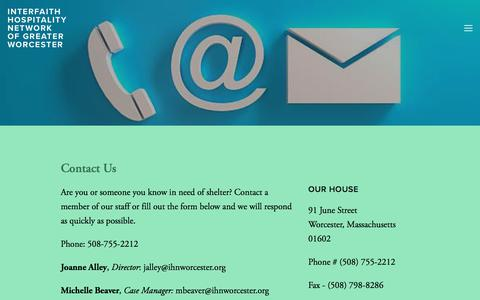 Screenshot of Contact Page ihnworcester.org - Contact Us — Interfaith Hospitality Network of Greater Worcester - captured Jan. 7, 2018