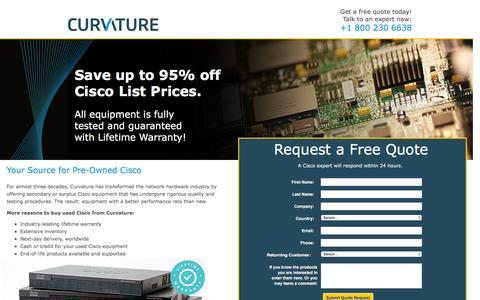 Screenshot of Landing Page curvature.com - Used Cisco Equipment from Curvature | Curvature - captured April 15, 2016