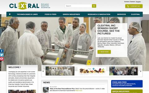Screenshot of Home Page Site Map Page clextral.com - Clextral Extrusion Expertise Excellence - captured Sept. 29, 2014