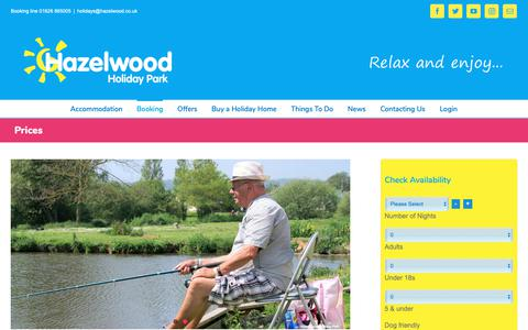 Screenshot of Pricing Page hazelwood.co.uk - Hazelwood Holiday Park | Prices - no hidden extras - captured Sept. 27, 2018