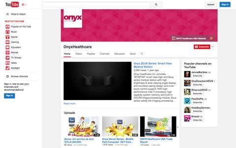 Screenshot of YouTube Page youtube.com - OnyxHealthcare  - YouTube - captured Oct. 26, 2014