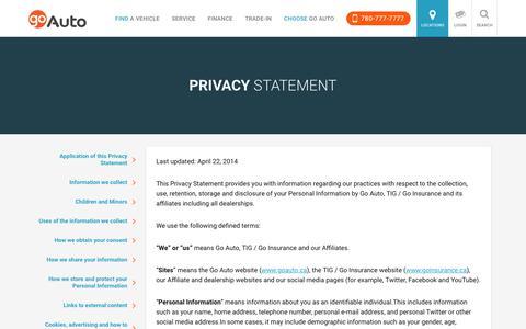 Privacy Statement | Go         Auto