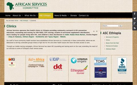 Screenshot of Locations Page africanservices.org - Locations - captured Oct. 4, 2014