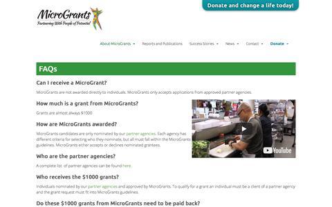 Screenshot of FAQ Page microgrants.net - FAQs - MicroGrants - captured Sept. 20, 2018
