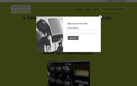 Screenshot of Blog twenty20audio.com - Blog — Twenty/20 Audio | Audio Mastering | Lancaster, Pa - captured Oct. 19, 2018