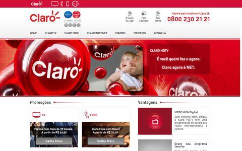Screenshot of Home Page clarohdtv.net - Produtos da Claro. TV por Assinatura e Telefone Fixo. - captured Feb. 7, 2016