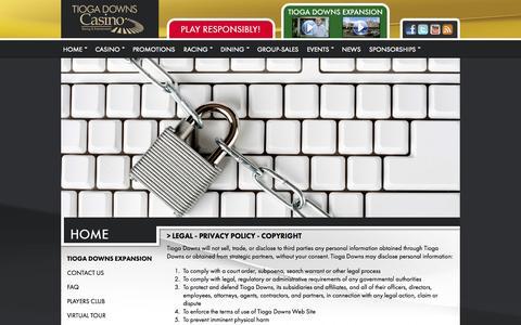 Screenshot of Terms Page tiogadowns.com - Tioga Downs Casino & Racing - captured Sept. 23, 2014