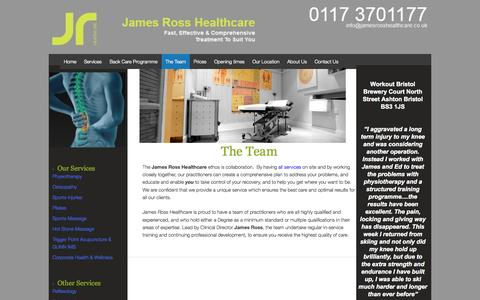 Screenshot of Team Page jamesrosshealthcare.co.uk - Bristol's Best Sport Physiotherapists, Pilates Instructors & Osteopaths - captured Sept. 30, 2014