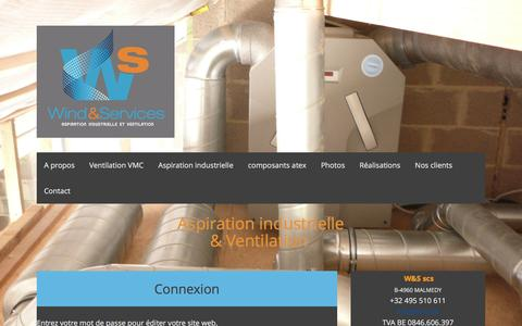 Screenshot of Login Page w-s.be - Connexion  - vmc double flux, vmc, aspiration industrielle, filtration et presse à briquettes - captured Feb. 24, 2016