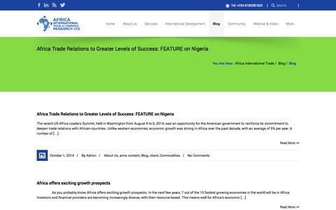 Screenshot of Blog africainternationaltrade.com - Africa International Trade » Blog - captured Oct. 4, 2014