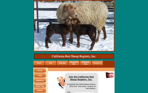 Screenshot of Signup Page caredsheep.com - California Red Sheep Registry, Inc. - Join - captured Oct. 27, 2018