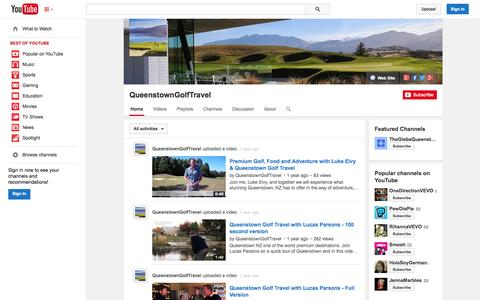 Screenshot of YouTube Page youtube.com - QueenstownGolfTravel  - YouTube - captured Oct. 23, 2014