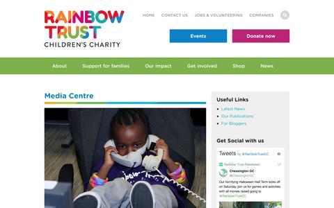 Screenshot of Press Page rainbowtrust.org.uk - Media Centre   Rainbow Trust Children's Charity - captured Oct. 19, 2017
