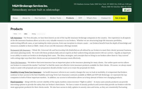 Screenshot of Products Page bsiinsurance.com - Products | M&M Brokerage Services Inc. - captured Feb. 2, 2016