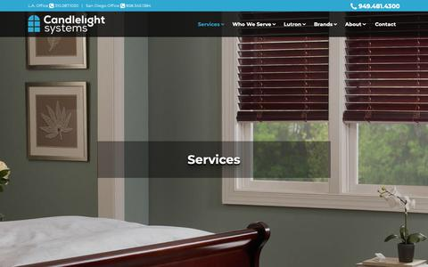Screenshot of Services Page candlelightsystems.com - Services - Lighting Control, Shading & Automation | Candlelight Systems - captured Sept. 26, 2018