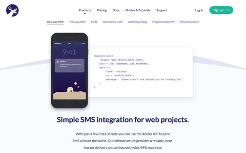 Screenshot of Products Page 46elks.com - 46elks - One-way SMS - captured July 28, 2018