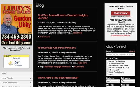 Screenshot of Blog libbyshomesales.com - Blog | Libby's Home Sales I Gordon Libby | 734-216-2188 | Downriver MI Homes for Sale - captured July 3, 2018