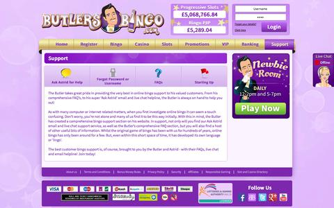 Screenshot of Support Page butlersbingo.com - Support | Butlers Bingo - captured Sept. 23, 2014