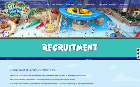 Screenshot of Jobs Page sandcastle-waterpark.co.uk - Sandcastle WaterparkRecruitment - Sandcastle Waterpark - captured July 22, 2016