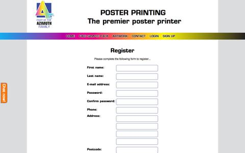 Screenshot of Signup Page posterprinting.org.uk - Poster Printing | Quality, cheap posters in a range of sizes - captured Jan. 30, 2016