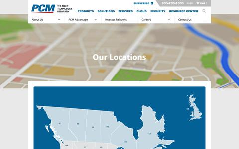 Screenshot of Locations Page pcm.com - PCM Locations - captured May 26, 2019