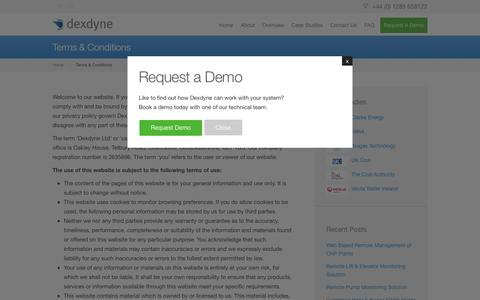 Screenshot of Terms Page dexdyne.com - Dexdyne Ltd Website Terms & Conditions - captured Feb. 9, 2016
