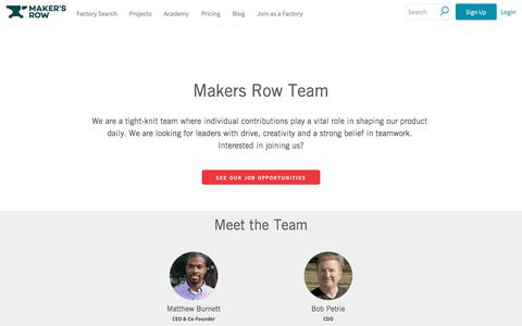 Screenshot of Team Page makersrow.com - Meet The Team | Maker's Row - Manufacturing, Sourcing, Production Education - captured Sept. 10, 2017