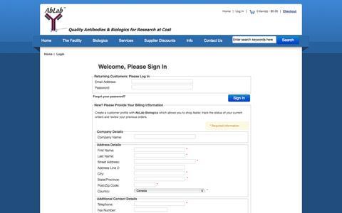 Screenshot of Login Page ablab.ca - Login : Ablab - captured Oct. 4, 2014