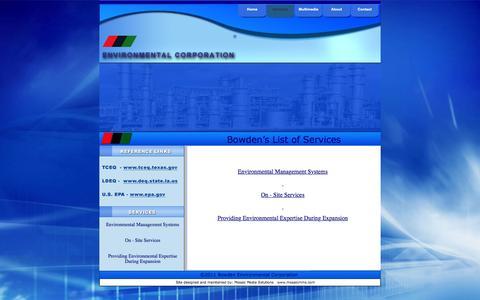 Screenshot of Services Page bowdenenv.com - BEC Services - captured Feb. 8, 2016