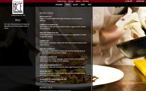 Screenshot of Menu Page bicenewyork.com - Menu - Bice Restaurant - New York City - captured Sept. 30, 2014