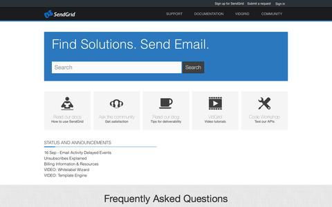Screenshot of Support Page sendgrid.com - Support - captured Sept. 17, 2014
