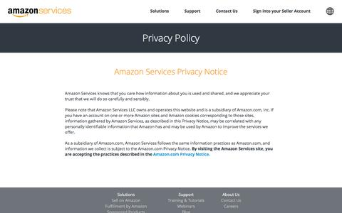 Screenshot of About Page amazon.com - Amazon.com: Amazon Services - Privacy Notice - captured Nov. 13, 2016