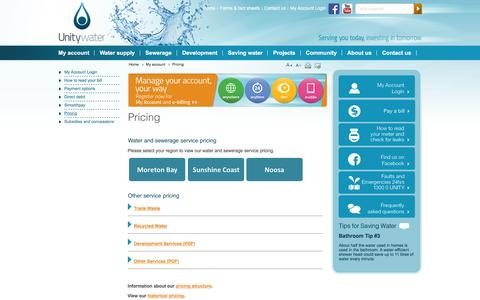 Screenshot of Pricing Page unitywater.com - Unitywater - Pricing - captured Jan. 13, 2016